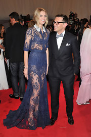 Lily Donaldson looked lovely in lace at the Met Gala wearing a sheer blue collared frock by Erdem.