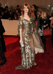 Karen Elson had the Midas touch in a gold leaf evening gown for the Met Costume Gala.