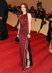 Kristen Stewart sizzled at the 2011 Met Gala in black strappy fall 2011 buckled sandals.