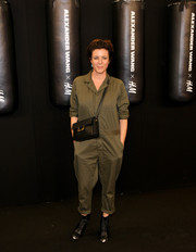 Garance Dore topped off her outfit with a buckled black shoulder bag.