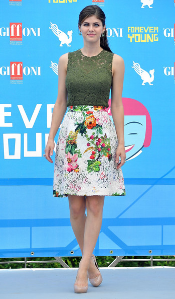 Alexandra Daddario Knee Length Skirt