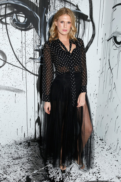 Alexandra Richards Sheer Top [sasha pivovarova celebrate the launch of the spring,clothing,fashion,dress,beauty,little black dress,long hair,footwear,fashion design,black-and-white,photography,collection,dior,alexandra richards,new york city,milk garage,dior spring,launch event]