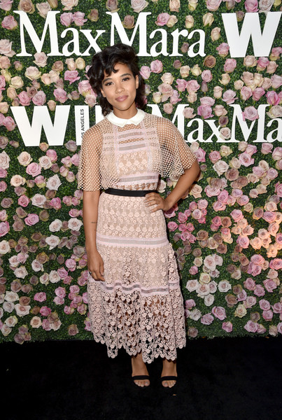 Alexandra Shipp Lace Dress [max mara celebrates zoey deutch,the 2017 women in film max mara face of the future,alexandra shipp,clothing,pattern,dress,fashion,pink,spring,textile,cocktail dress,plant,chateau marmont,california,los angeles]