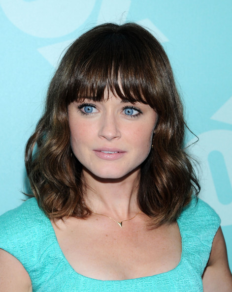 Alexis Bledel Pink Lipstick [fox 2103,hair,face,hairstyle,bangs,eyebrow,chin,lip,turquoise,beauty,forehead,celebs,alexis bledel,part,new york city,wollman rink - central park,fox programming post,programming presentation post-party]