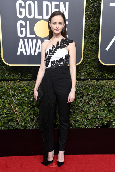 Alexis Bledel Jumpsuit [flooring,fashion model,carpet,fashion,red carpet,haute couture,girl,formal wear,arrivals,alexis bledel,beverly hills,california,the beverly hilton hotel,golden globe awards,annual golden globe awards]