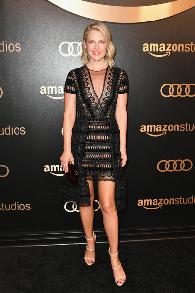 Ali Larter Strappy Sandals [clothing,cocktail dress,dress,little black dress,fashion model,shoulder,carpet,fashion,footwear,joint,arrivals,ali larter,beverly hills,california,the beverly hilton hotel,amazon studios,amazon studios golden globes celebration]
