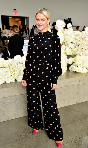 Alice Eve Print Pants [shows,the shows,fashion,fashion model,polka dot,design,pattern,flooring,outerwear,haute couture,runway,shoe,alice eve,zimmermann - front row,front row,gallery i,new york city,zimmermann,spring studios,new york fashion week]