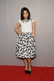 A full knee-length skirt with a fun print on it matched Vanessa Hudgens' quirky personality at the Alice + Olivia runway show.