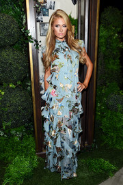 Paris Hilton showed her sweet side with this tiered floral maxi dress by Alice + Olivia during the brand's fashion show.