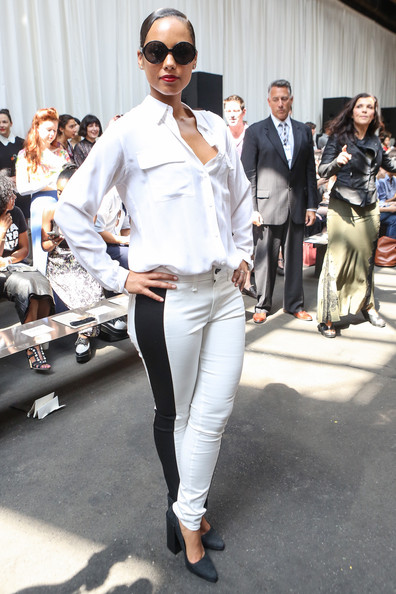 Alicia Keys Skinny Pants [white,clothing,street fashion,fashion,eyewear,suit,fashion model,jeans,pantsuit,footwear,alicia keys,edun - front row,new york city,moynihan station,skylight studios,edun spring 2013,mercedes-benz fashion week]