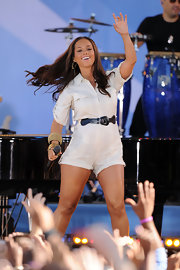 Alicia Keys rocked the house in a cream romper, which she paired with a black belt.