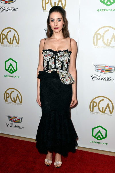 Alison Brie Evening Sandals [clothing,dress,red carpet,strapless dress,carpet,waist,shoulder,fashion,cocktail dress,hairstyle,arrivals,alison brie,the beverly hilton hotel,beverly hills,california,annual producers guild awards]