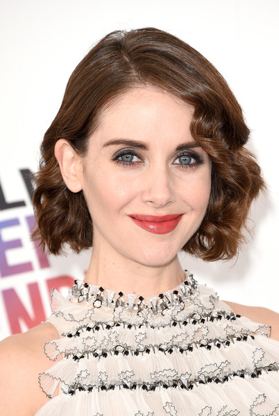 Alison Brie Curled Out Bob [hair,face,lip,hairstyle,eyebrow,chin,skin,beauty,shoulder,forehead,arrivals,alison brie,film independent spirit awards,santa monica,california]