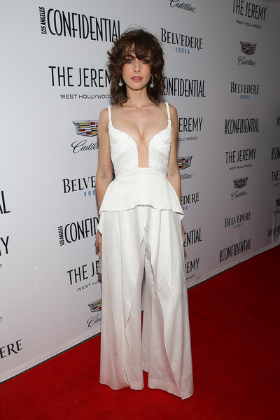 Alison Brie Jumpsuit [clothing,red carpet,shoulder,dress,carpet,gown,fashion,hairstyle,premiere,joint,alison brie,the jeremy west hollywood,los angeles,california,los angeles confidential,cadillac,belvedere vodka,awards event]
