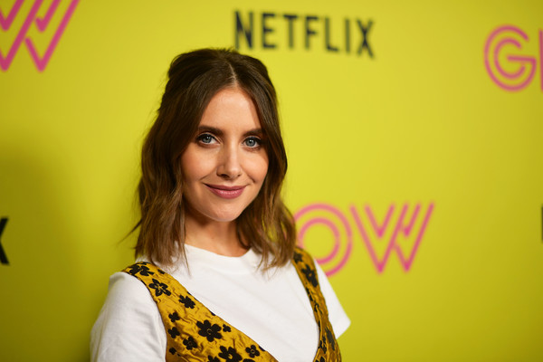Alison Brie Half Up Half Down [glow celebrates its 10 emmy nominations with roller-skating,hair,face,yellow,beauty,hairstyle,fashion,smile,lip,brown hair,makeover,alison brie,nominations,roller-skating,california,los angeles,world,netflix,event,event]