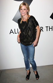 Julie Bowen attended the All In for the 99% Event wearing a pair of black cutout ankle boots