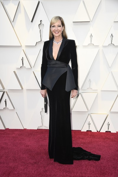 Allison Janney Tuxedo Dress [red carpet,carpet,clothing,dress,flooring,fashion,formal wear,haute couture,premiere,black-and-white,arrivals,allison janney,academy awards,hollywood,highland,california,annual academy awards]