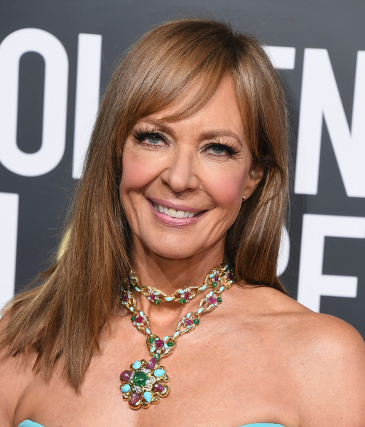 Allison Janney Gemstone Statement Necklace [hair,hairstyle,blond,brown hair,eyebrow,chin,layered hair,long hair,hair coloring,bob cut,arrivals,allison janney,the beverly hilton hotel,beverly hills,california,golden globe awards]