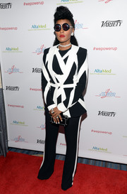 Janelle Monae suited up in this monochrome number by Zuhair Murad for the Power Up Gala.