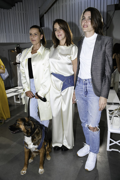 Charlotte Casiraghi added an edgy touch with a pair of ripped jeans.