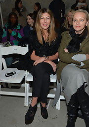 Nina Garcia wore a chic pair of black mesh brogues at the Altuzarra Fall 2013 fashion show.