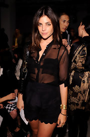 Julia Restoin-Roitfeld dolled up her look with a gorgeous gold cuff bracelet when she attended the Altuzarra fashion show.