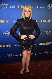Jane Krakowski rocked a high-neck black sequin dress with a sexy lace hem at the Alvin Ailey American Dance Theater's 60th anniversary gala.