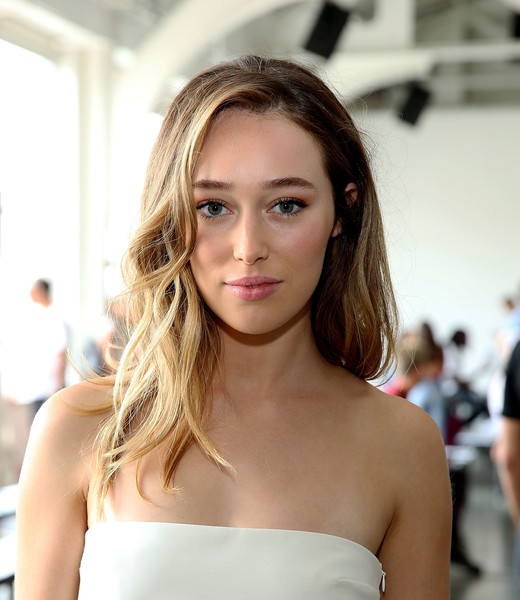 Alycia Debnam-Carey Long Wavy Cut [hair,face,hairstyle,blond,shoulder,beauty,lip,skin,eyebrow,brown hair,dion lee - front row,dion lee front row,alycia debnam carey,new york city,pier 59 studios,new york fashion week]