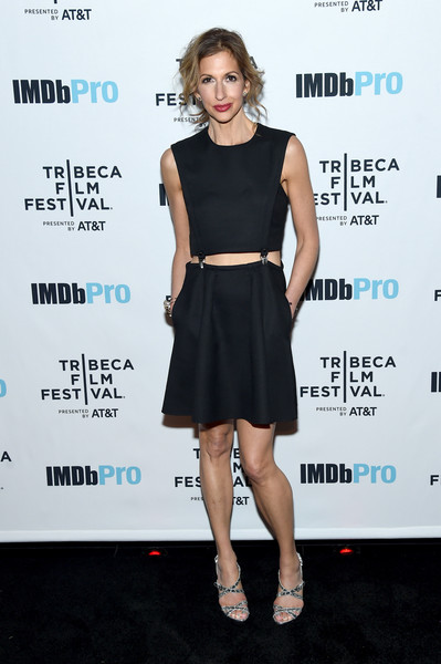 Alysia Reiner Strappy Sandals [clothing,dress,cocktail dress,little black dress,shoulder,fashion model,fashion,footwear,premiere,carpet,app,alysia reiner,egg,tao downtown,new york city,imdbpro,tribeca film festival after party,party]