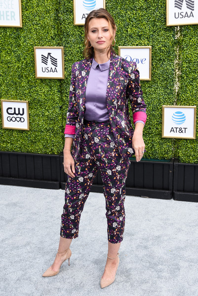 Alyson Michalka Pantsuit [clothing,street fashion,fashion,footwear,suit,outerwear,crop top,pantsuit,dress,photography,arrivals,aly michalka,burbank,california,cw network,warner bros. studios,fall launch event]