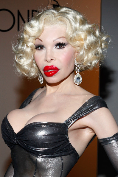 Amanda Lepore Dangling Crystal Earrings [the blonds spring 2012,hair,blond,lip,lady,clothing,hairstyle,eyebrow,beauty,chin,fetish model,amanda lepore,blonds - front row,new york city,center 548,mercedes-benz fashion week,fashion show]