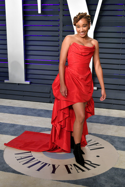 Amandla Stenberg Strapless Dress [oscar party,vanity fair,fashion model,clothing,red,dress,shoulder,fashion,cocktail dress,haute couture,fashion design,gown,beverly hills,california,wallis annenberg center for the performing arts,radhika jones - arrivals,radhika jones,amandla stenberg]