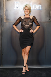 Ashley Roberts went ultra modern in a lace-and-mesh cold-shoulder LBD during the Amazon Fashion Photography Studio launch.
