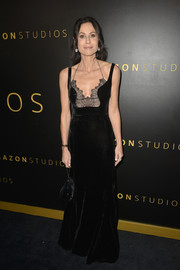 Minnie Driver looked captivating in a black velvet and lace gown by Antonio Berardi at the Amazon Studios Golden Globes after-party.