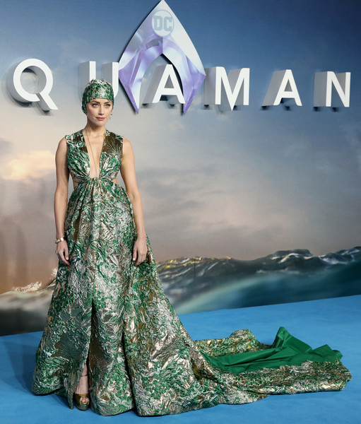 Amber Heard Cutout Dress [aquaman world premiere,clothing,fashion model,dress,formal wear,fashion,gown,fashion design,haute couture,sky,photography,red carpet arrivals,amber heard,london,england,cineworld leicester square,world premiere]