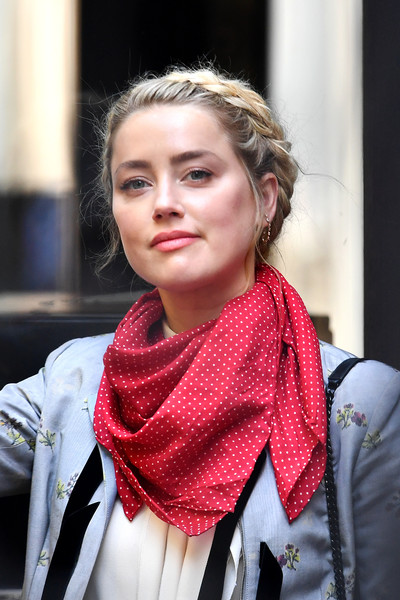 Amber Heard Braided Updo [article,portrait,hair,face,scarf,clothing,red,lip,beauty,street fashion,head,fashion,amber heard,dan wootton,johnny depp libel trial enters third week,actor,strand,socialite,scarf,royal courts of justice,lee young-ah,tartan,scarf,portrait,socialite]