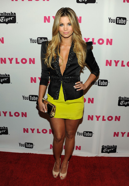 Amber Lancaster Long Curls [clothing,cocktail dress,dress,carpet,leg,footwear,long hair,outerwear,brown hair,red carpet,arrivals,amber lancaster,bardot,hollywood,california,nylon magazine,may young hollywood issue celebration]