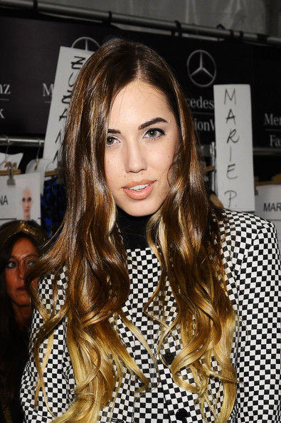Amber Le Bon Ombre Hair [hair,face,hairstyle,eyebrow,long hair,brown hair,lip,blond,beauty,hair coloring,michael kors,amber le bon,mercedes-benz fashion week,fashion show,michael kors - backstage,lincoln center,new york city,the theatre]