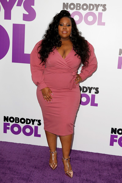 Amber Riley Wrap Dress [nobodys fool,clothing,shoulder,dress,cocktail dress,pink,hairstyle,joint,fashion,long hair,carpet,amber riley,new york,amc lincoln square theater,new york premiere]