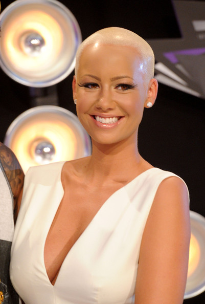 Amber Rose Buzzcut [hair,beauty,hairstyle,skin,fashion,chin,lip,smile,blond,dress,arrivals,amber rose,2011 mtv video music awards,california,los angeles,nokia theatre l.a. live]