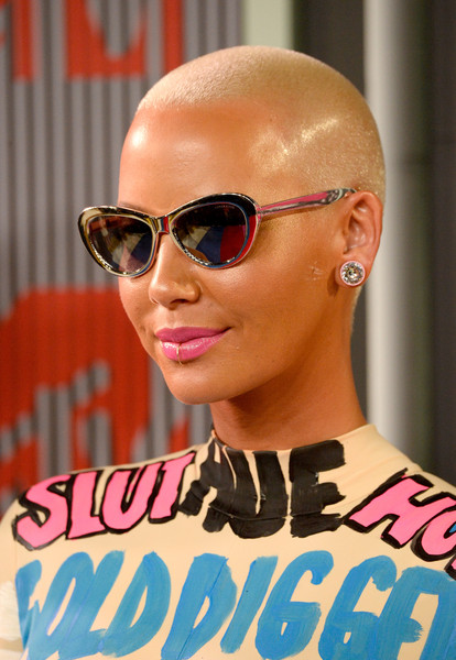Amber Rose Buzzcut [eyewear,sunglasses,hair,glasses,pink,cool,hairstyle,orange,vision care,fashion,arrivals,amber rose,mtv video music awards,microsoft theater,los angeles,california]