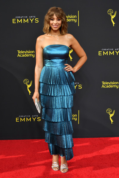 Amber Stevens West Strappy Sandals [clothing,dress,strapless dress,carpet,red carpet,premiere,cocktail dress,fashion,hairstyle,fashion model,arrivals,creative arts emmy awards,los angeles,california,amber stevens west]