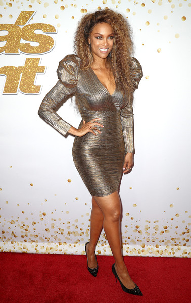 More Pics of Tyra Banks Evening Pumps (1 of 4) - Tyra Banks Lookbook - StyleBistro [season,americas got talent,clothing,dress,cocktail dress,fashion model,hairstyle,carpet,premiere,shoulder,long hair,leg,red carpet,tyra banks,california,hollywood,dolby theatre]
