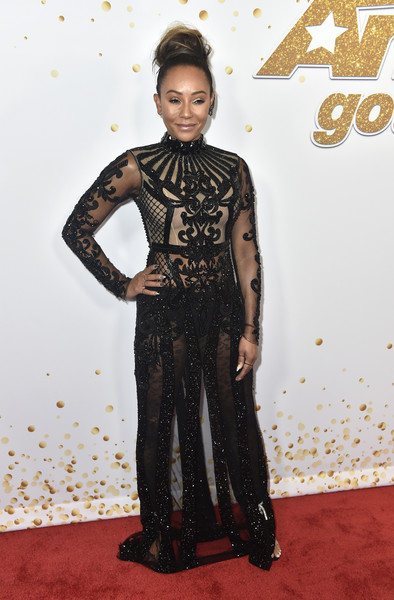 Melanie Brown flashed some skin in a sheer black gown by Elie Madi at the 'America's Got Talent' season 13 live show.