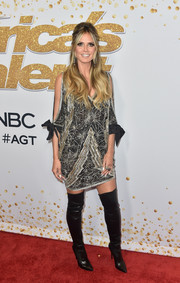 Heidi Klum got glam in a beaded mini dress by Naeem Khan for the 'America's Got Talent' season 13 live show.