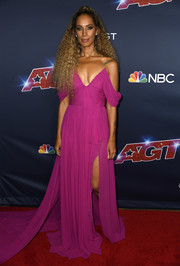 Leona Lewis looked divine in a magenta off-the-shoulder gown at the 'America's Got Talent' season 14 live show.