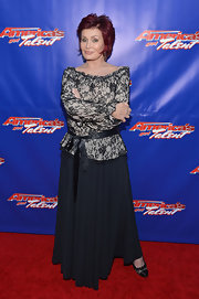 AGT judge Sharon Osbourne  arrived at the talent search's live show wearing a lace top and a maxi skirt.