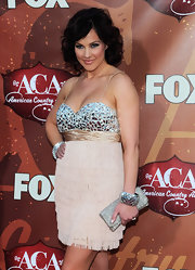 Tiffany Fallon showed off her chestnut brown soft curls while attending the American Country Awards.
