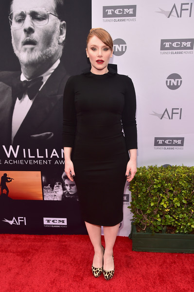 Bryce Dallas Howard teamed leopard-print platform pumps with a little black dress for the AFI Life Achievement Award.