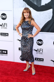 Jane Seymour completed her red carpet look with a pair of silver glitter pumps.